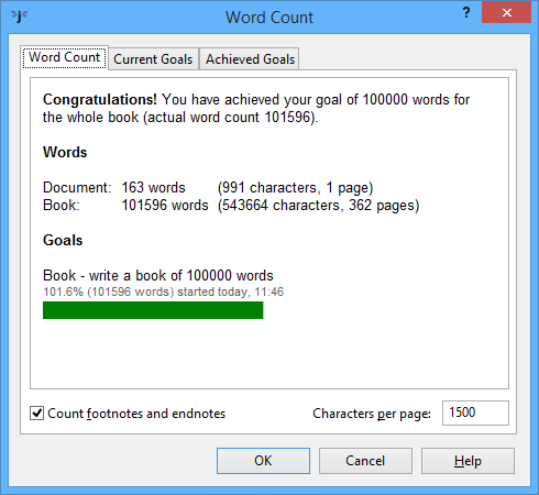 Jutoh Word Count dialog